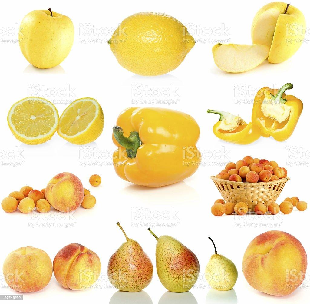 Conjunto de frutos amarelos, frutos e produtos hortícolas foto de stock royalty-free