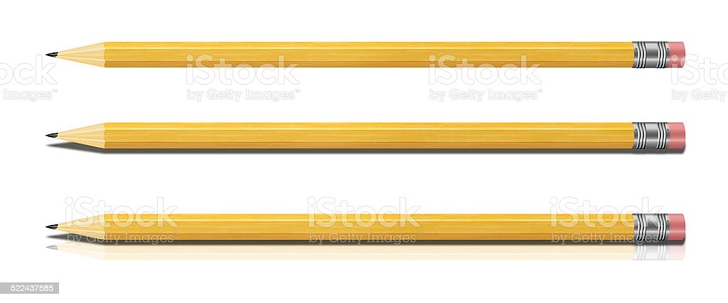 Set of Yellow Pencils Isolated on White Background. stock photo