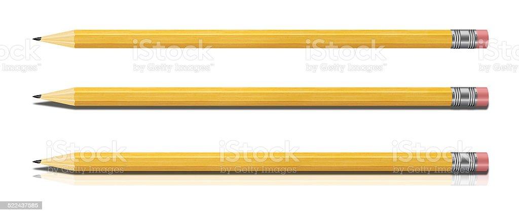 Set of Yellow Pencils Isolated on White Background. stock photo