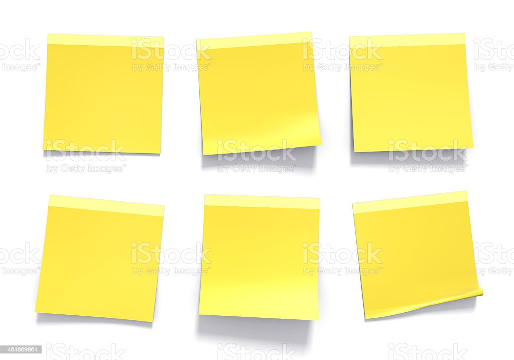 Set of yellow sticky notes used in offices for reminders stock photo