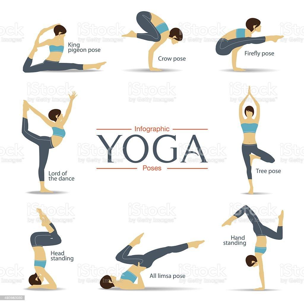 Set of yoga poses in flat design . Yoga infographics. vector art illustration