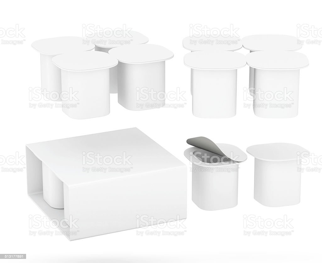 Set of   yogurt cup package with clipping path stock photo