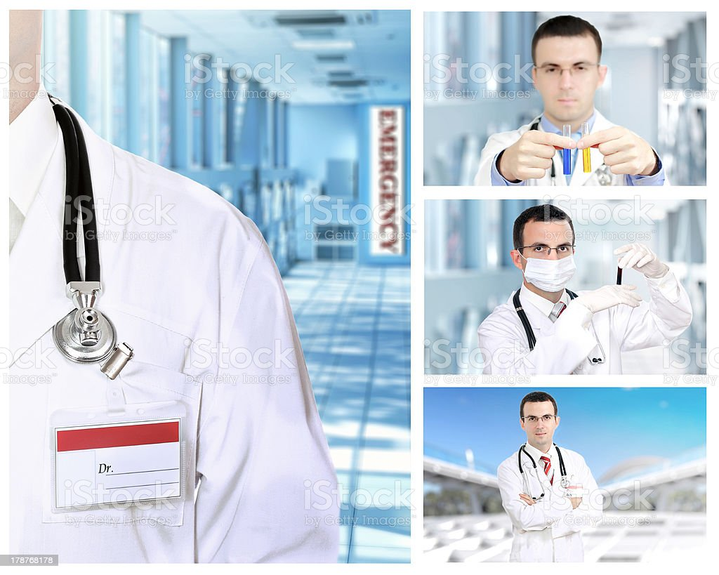 Set (collage) of young  doctor royalty-free stock photo
