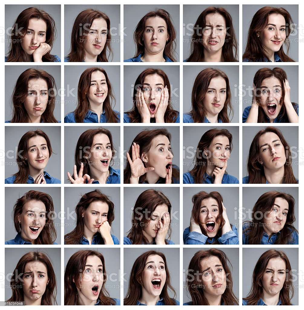 Set of young woman's portraits with different emotions stock photo