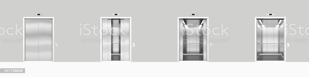 Set open and closed chrome metal office building elevator doors stock photo