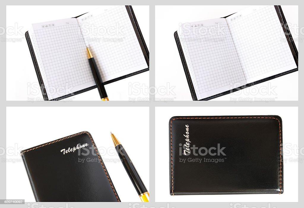 Set photos of notebook stock photo