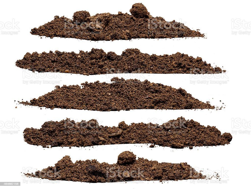 Set pile of soil stock photo