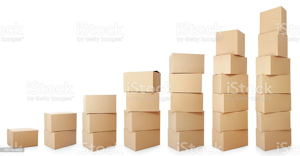 set piles of cardboard boxes stock photo