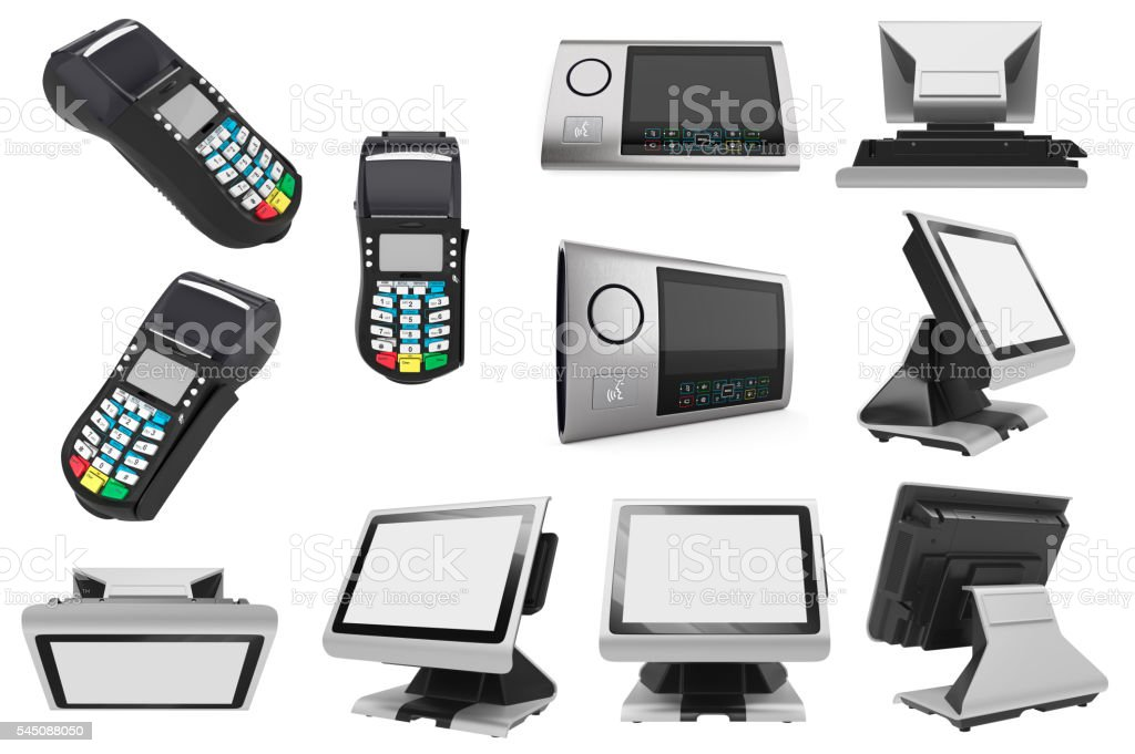 Set POS terminal stock photo