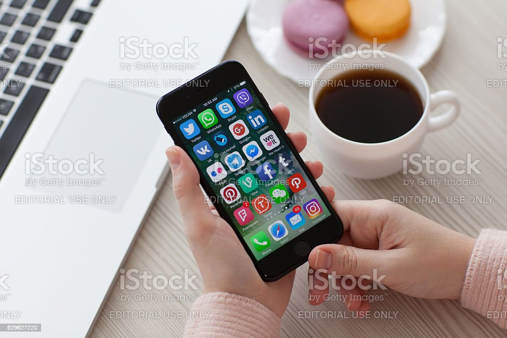 Set programs social networking on iPhone 7 Jet Black Onyx stock photo