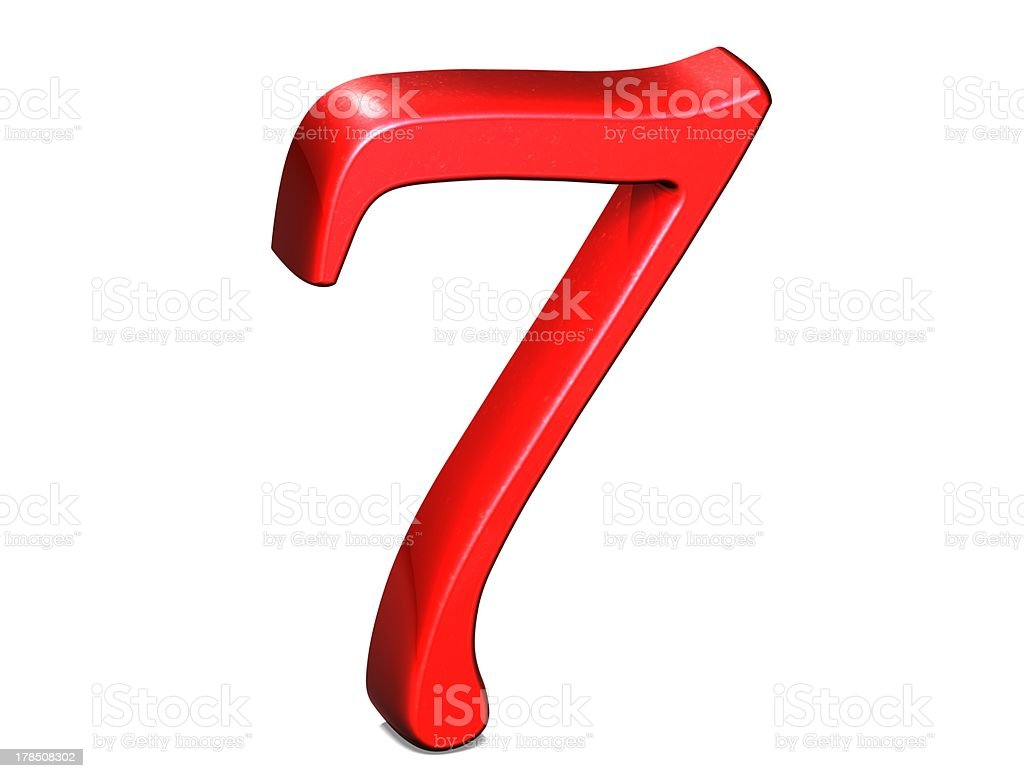 3D Set red number on white background royalty-free stock photo