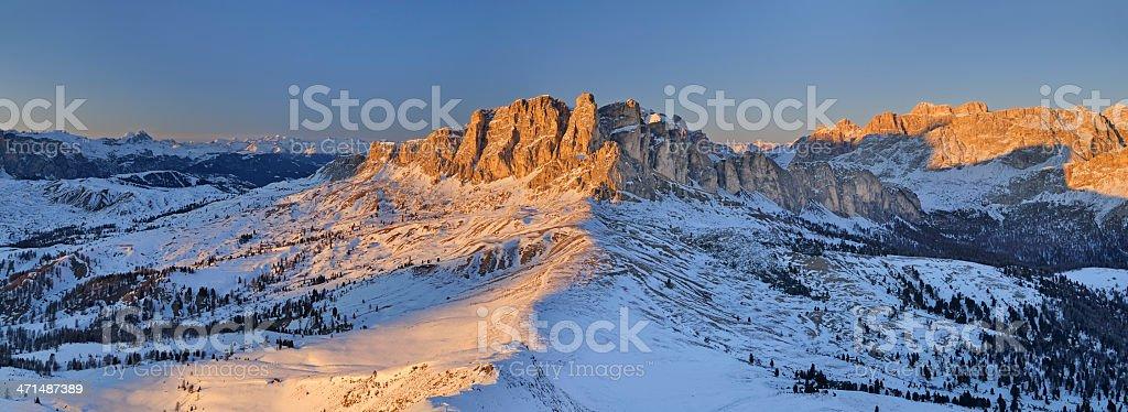 Set Sass At Sunset (Dolomites - Italy) stock photo