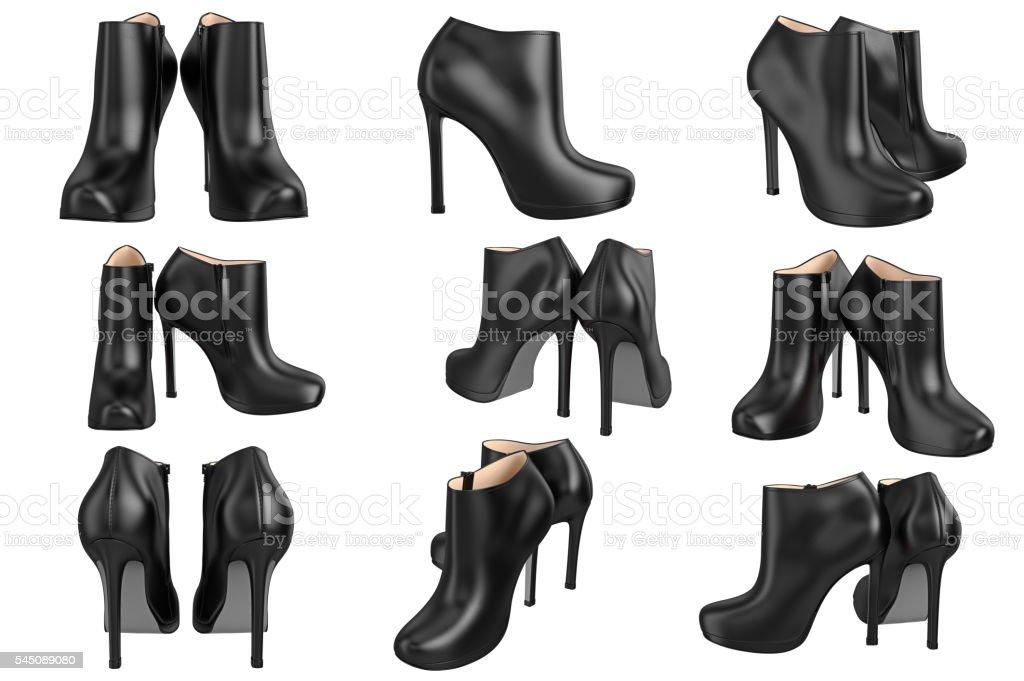 Set shoes black patent leather stock photo