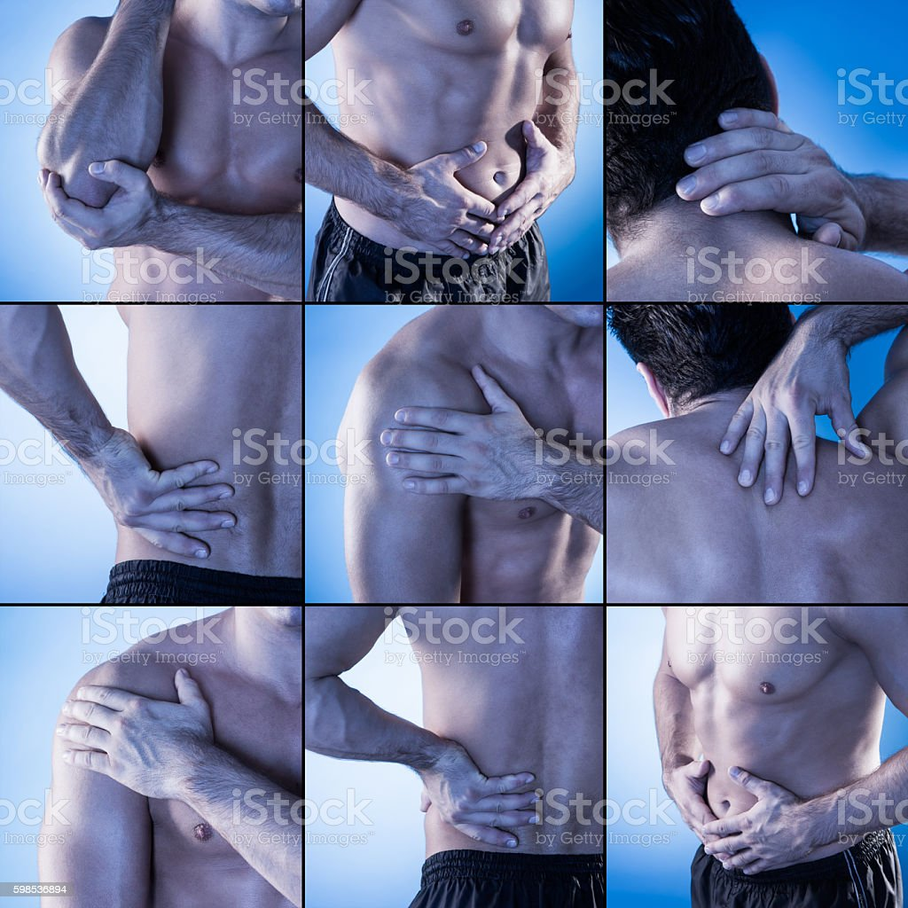 Pains in different parts of the body - Set Showing Pain At Different Parts Of The Body Royalty Free Stock Photo