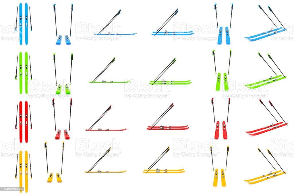 Set skiing, ski poles color stock photo