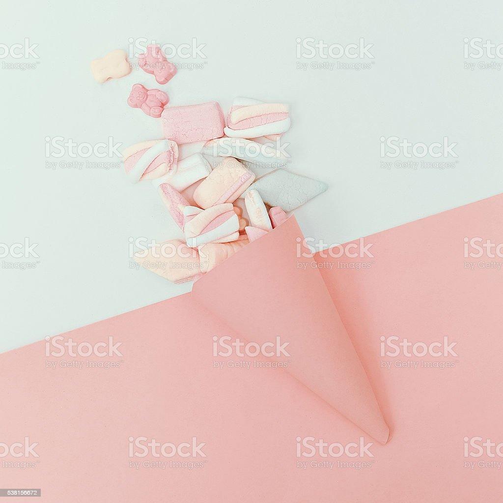 Set sweets. Vanilla color. Minimalism fashion stock photo