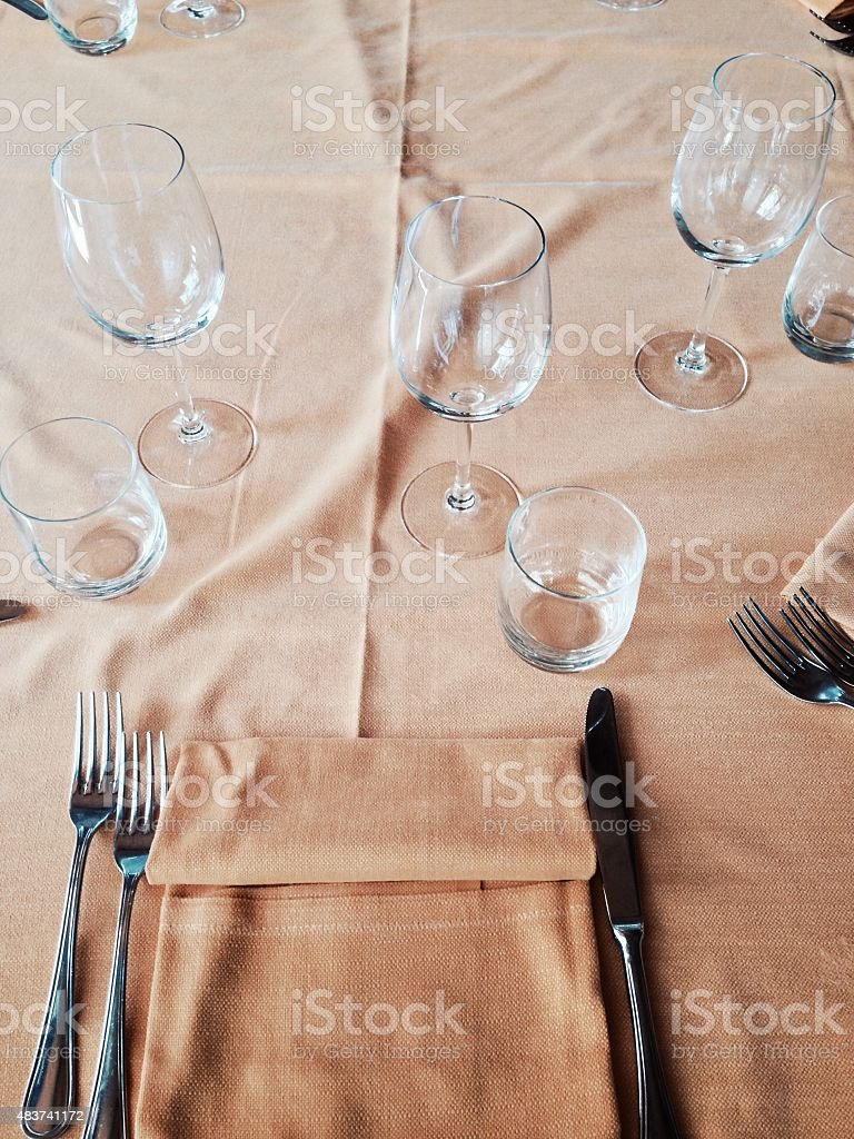Set table with tablecloth, personal point of view stock photo
