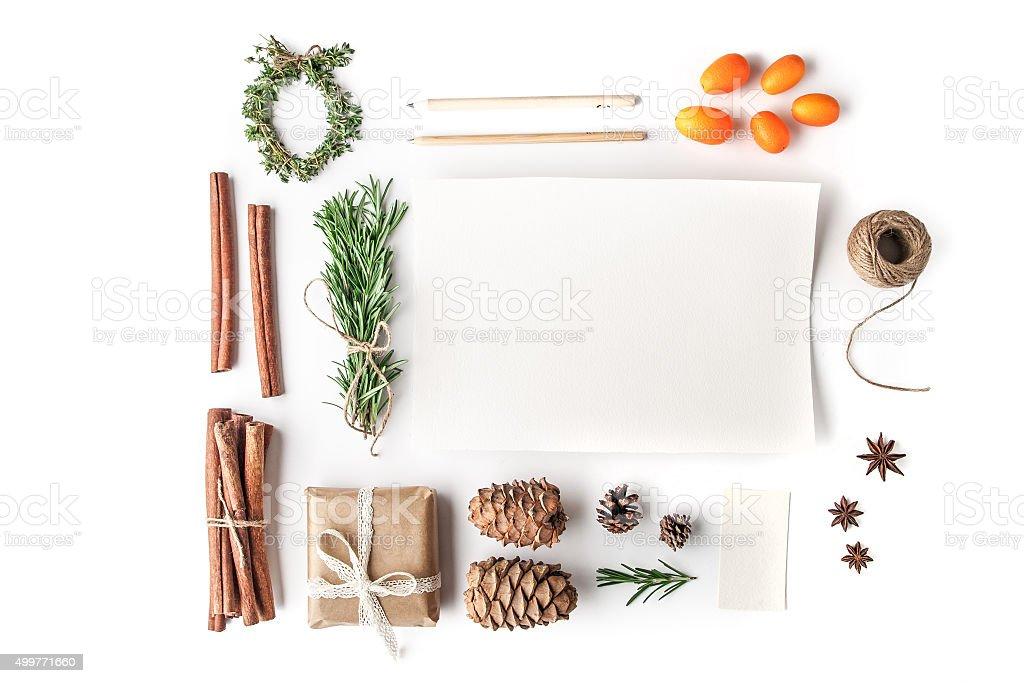 Set to create  Christmas card on the white background horizontal stock photo