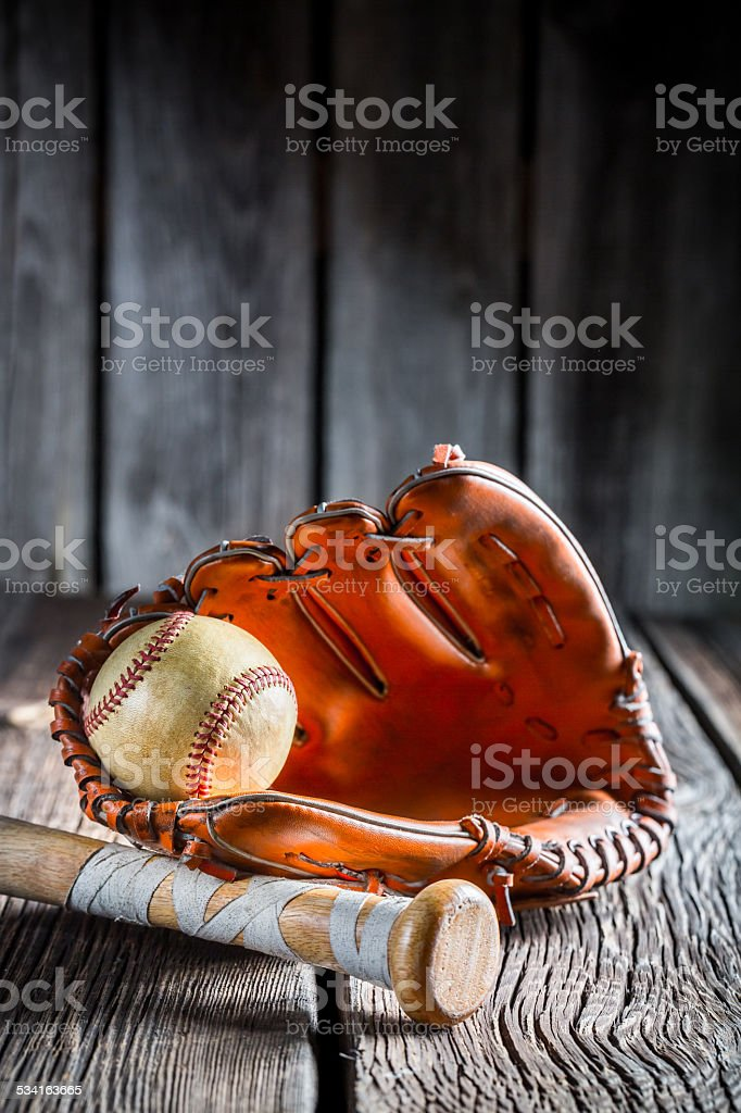 Set to play little league in baseball stock photo