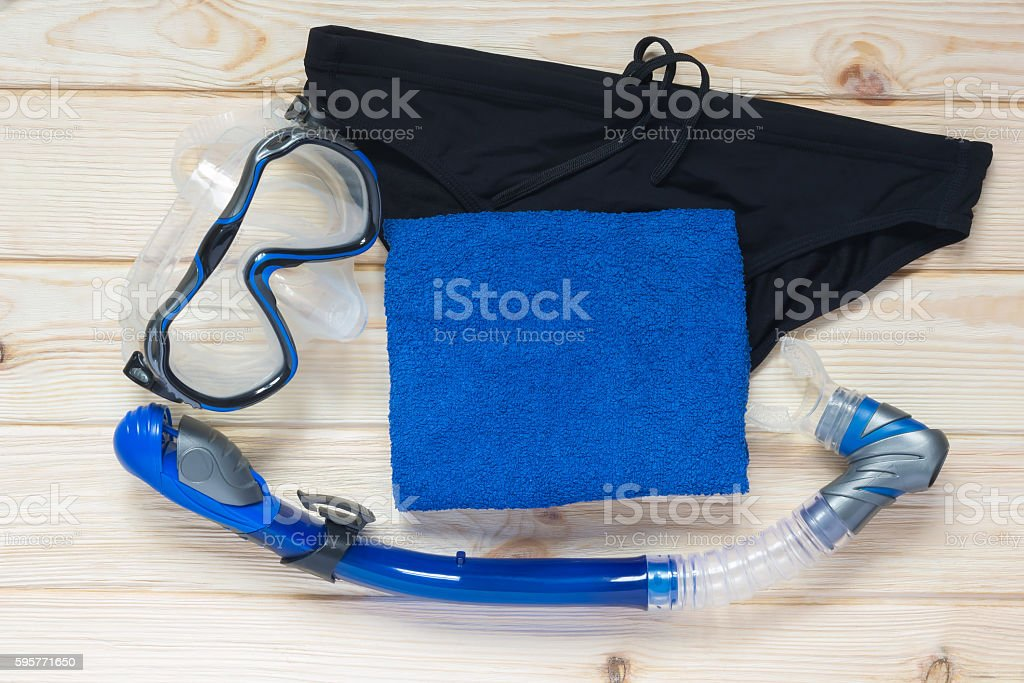 set to swim in a sea of blue stock photo