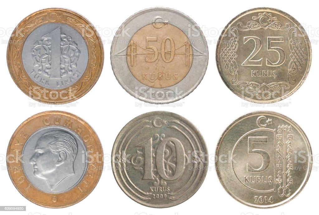 Set Turkish coin stock photo