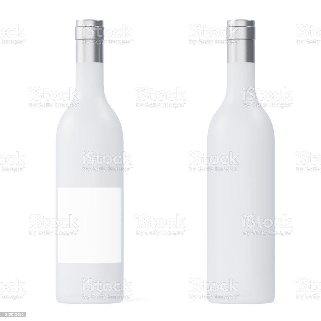 Set White matte wine bottles isolated on background with empty stock photo