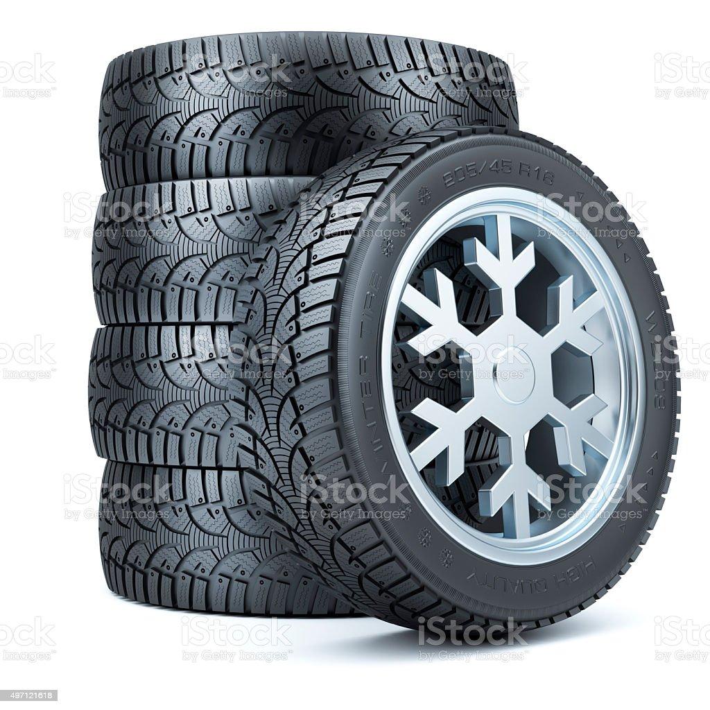 Set winter tires, rim of snowflake shape stock photo