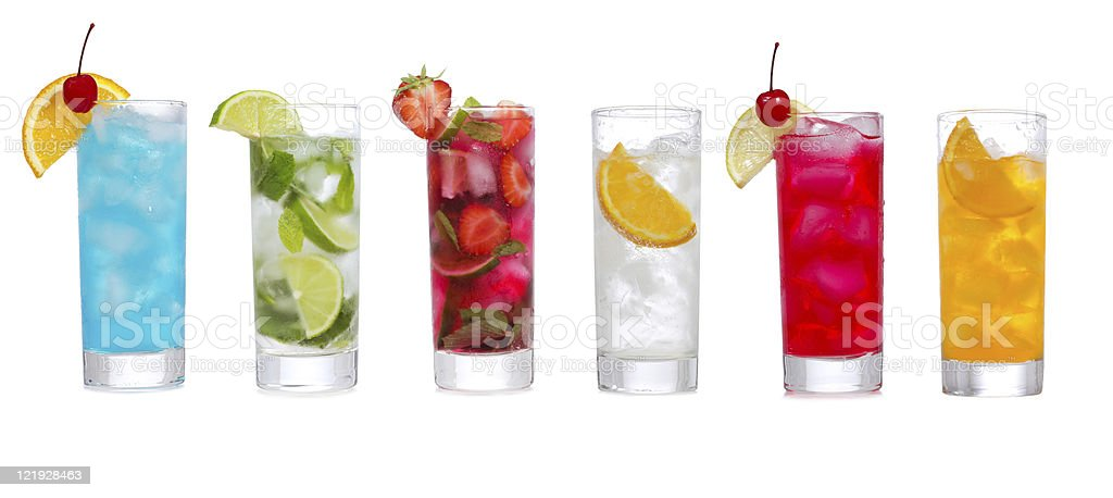 set with different cocktails royalty-free stock photo