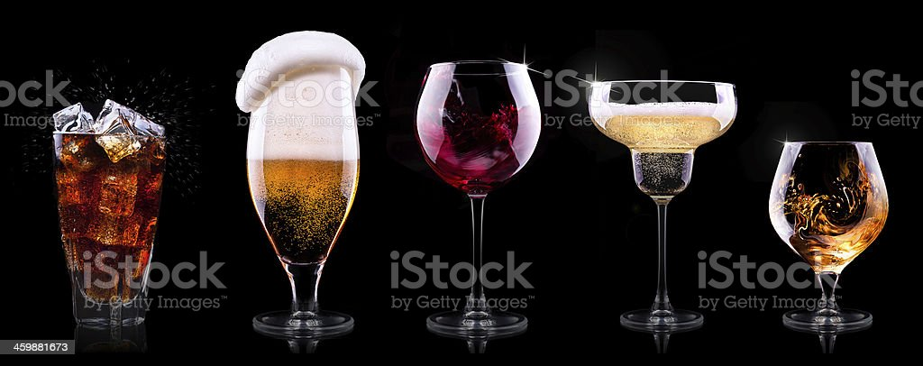 set with different drinks on black background royalty-free stock photo
