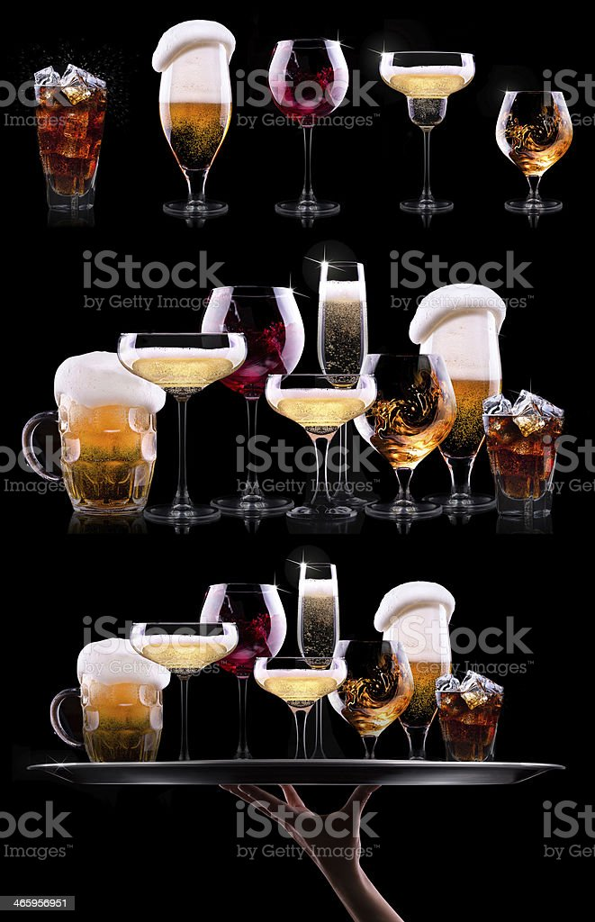 set with different  drinks stock photo