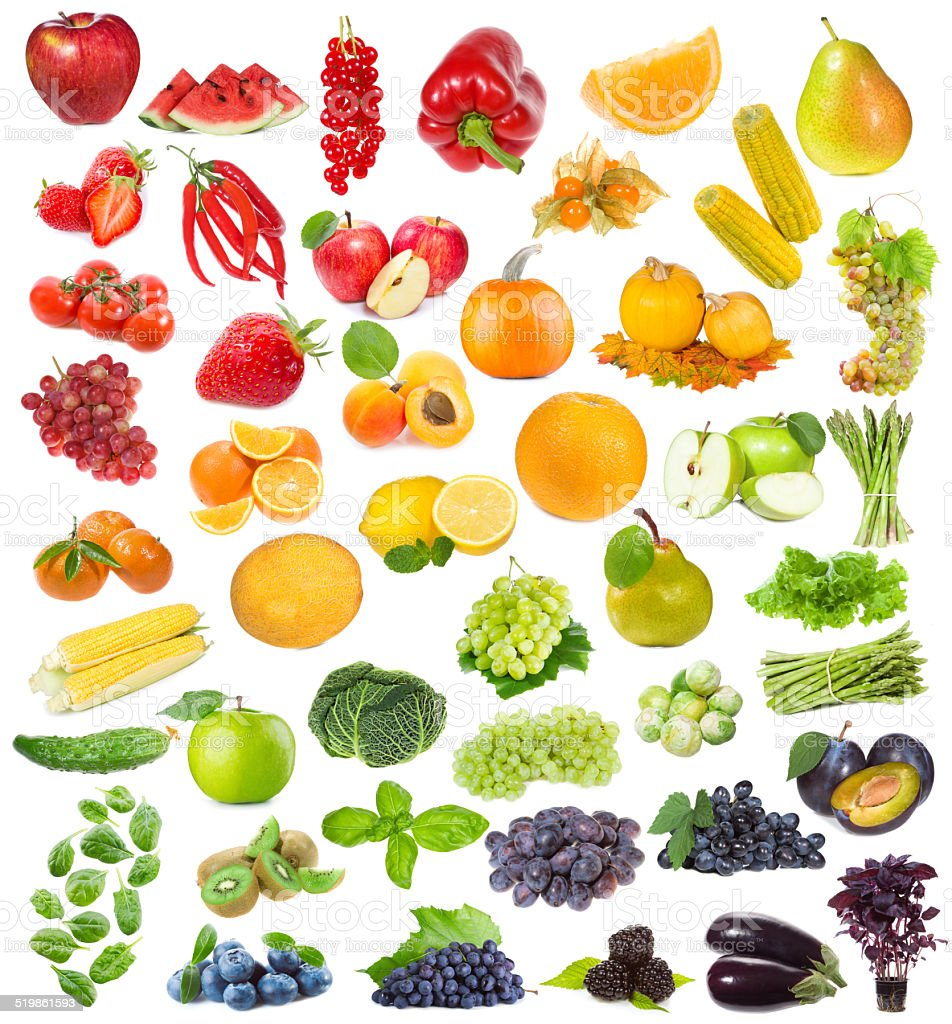 set with fruits, berries and herbs stock photo
