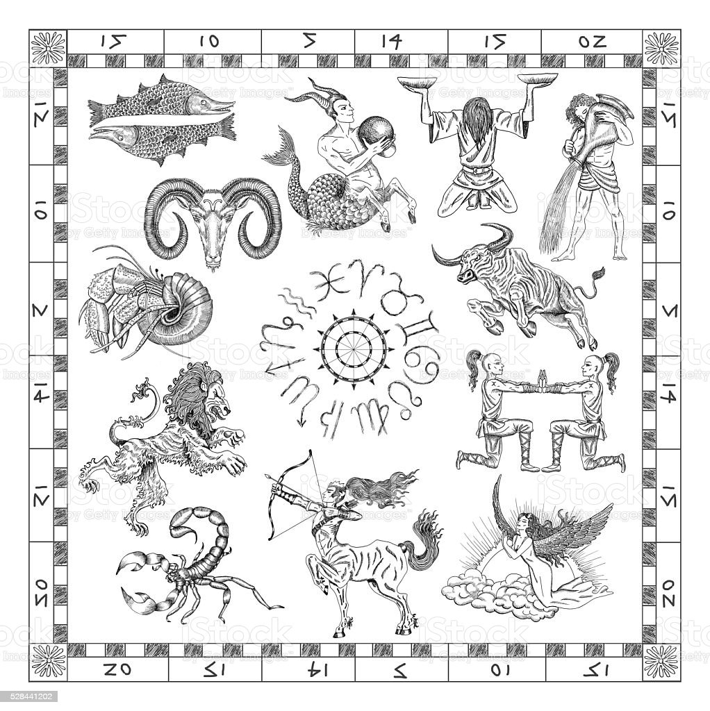 Set with Zodiac signs in map frame stock photo