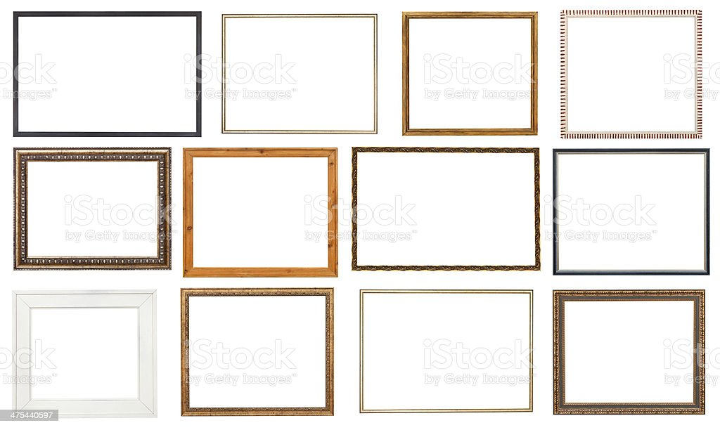set wooden picture frame with cut out canvas stock photo