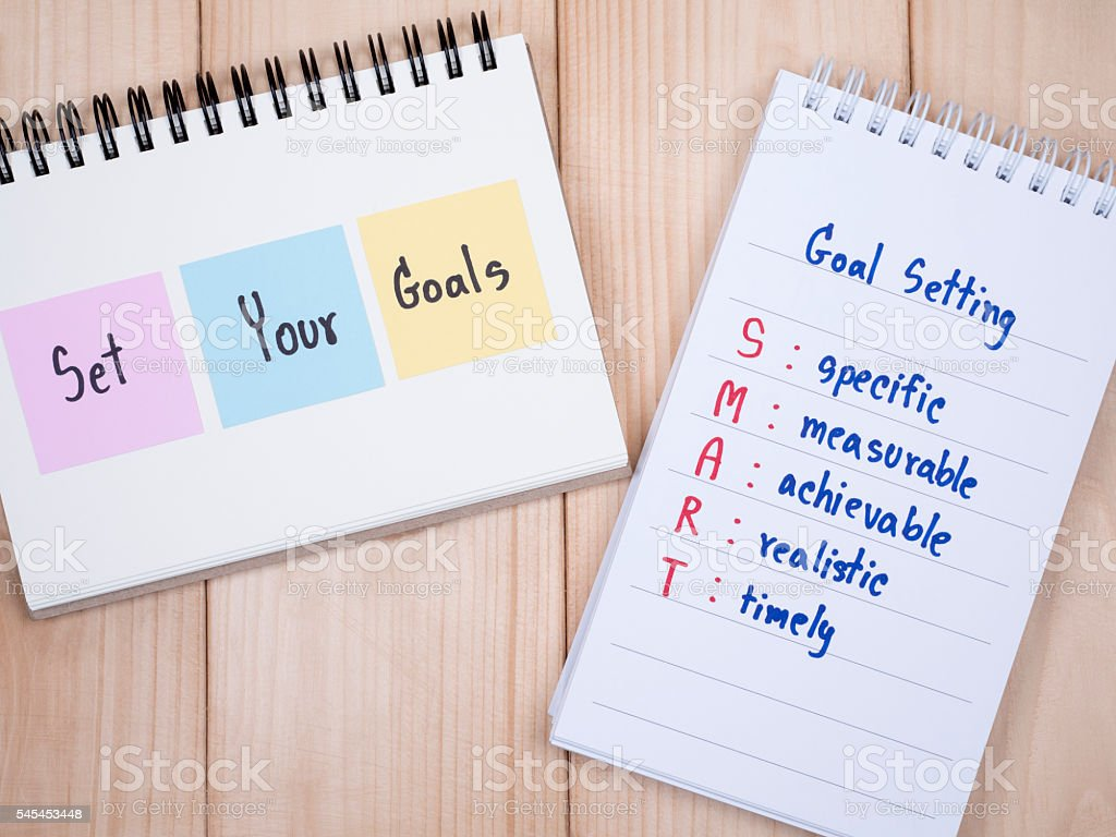 Set your goals and SMART Goal on notebook 1 stock photo