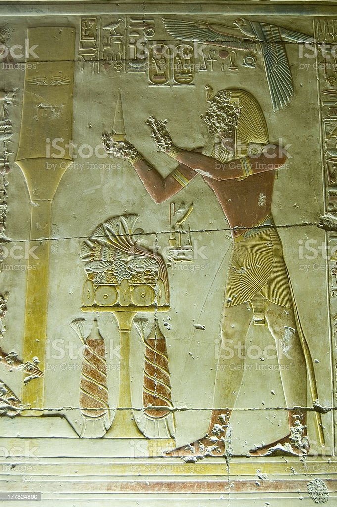 Seti offering to the Djed Column, Abydos stock photo
