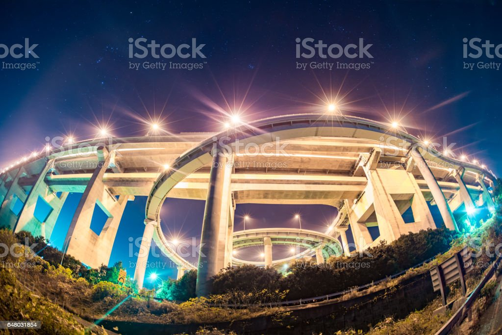Seto Ohashi Bridge at night with a train crossing over stock photo