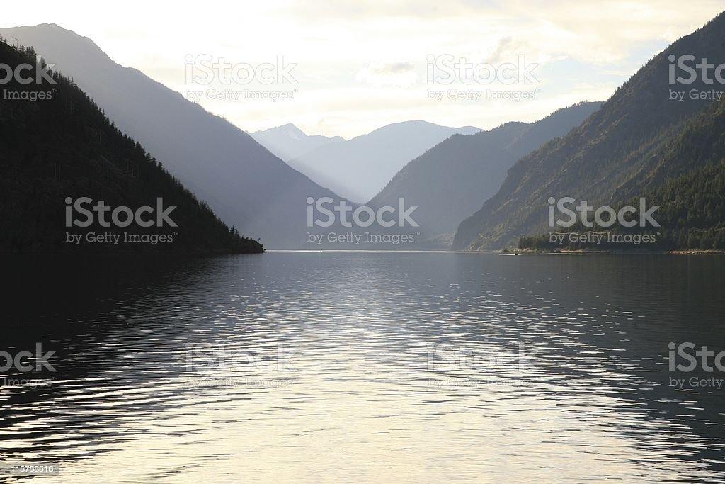Seton Lake at sunset. stock photo
