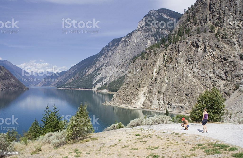 Seton Lake with tourists on viewpoint stock photo