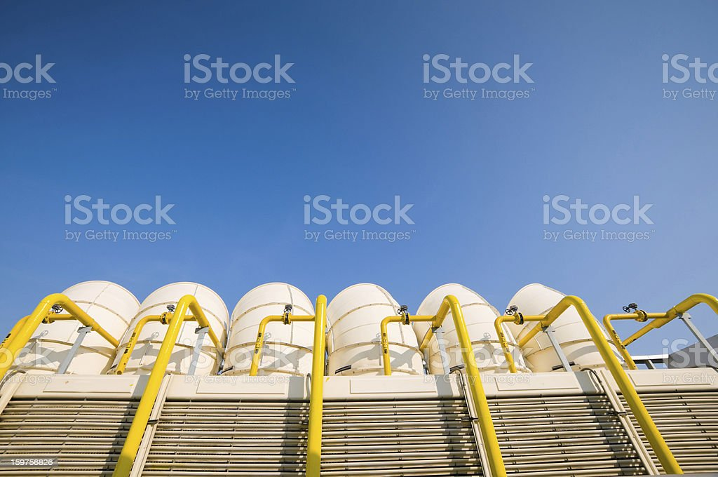 Sets of cooling towers in conditioning systems royalty-free stock photo