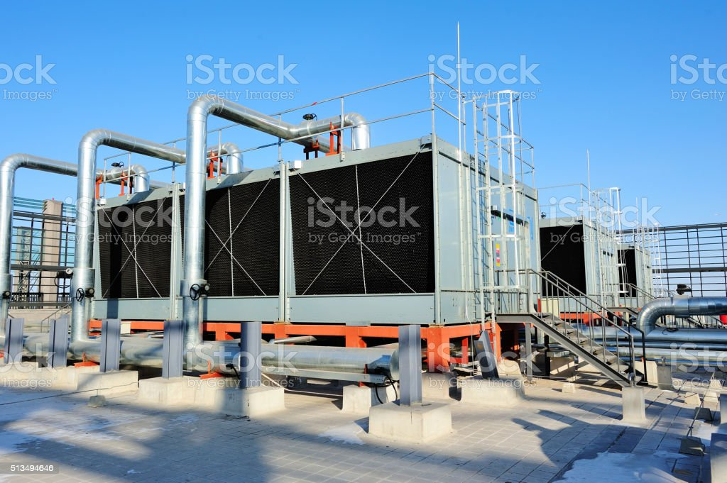 Sets of cooling towers in data center building. stock photo
