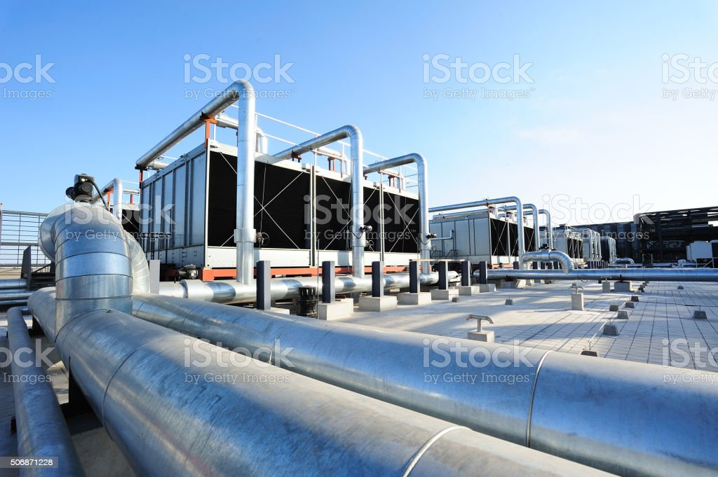 Sets of cooling towers stock photo