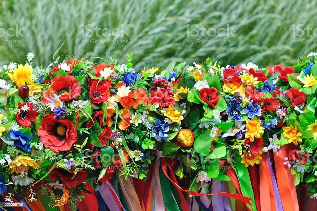 sets of Ukrainian traditional wreaths stock photo
