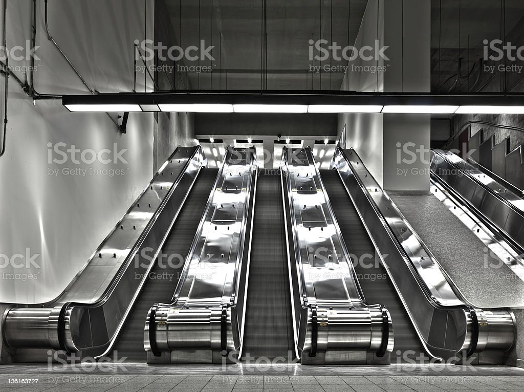 Sets of Working Escalator (wide angle) royalty-free stock photo