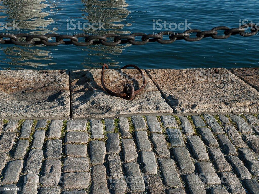 Sett paving along Fan Pier stock photo