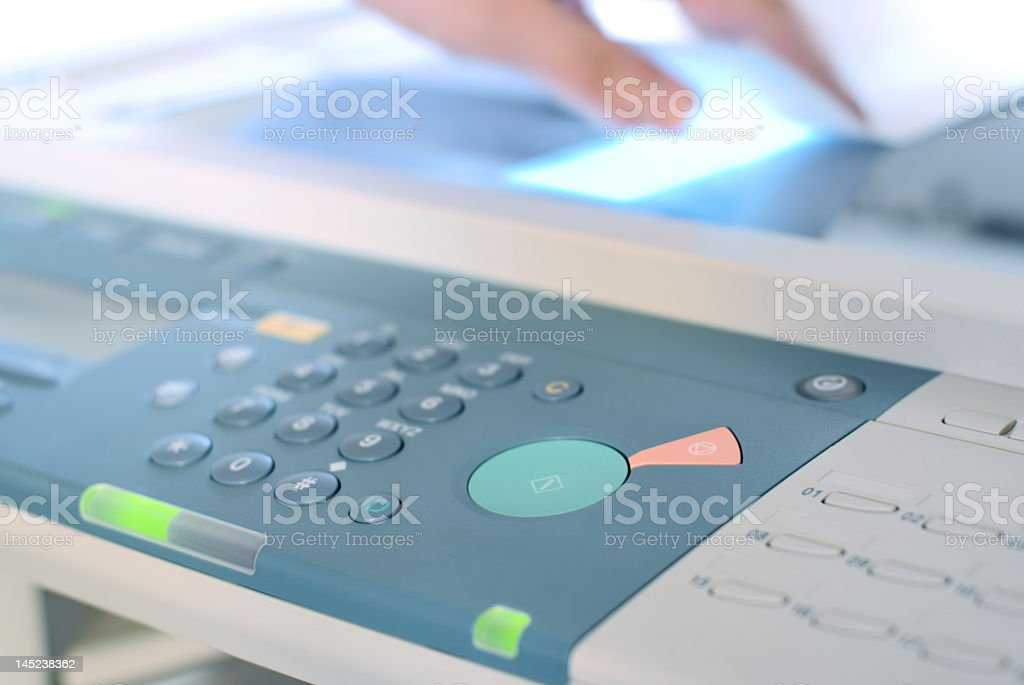 Setting buttons of copier machine close-up royalty-free stock photo