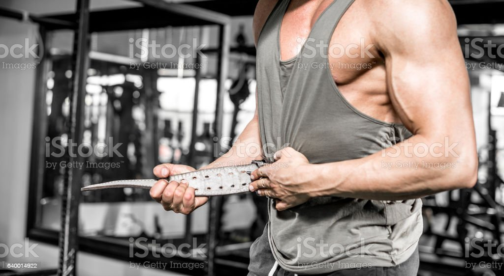 Setting gym protection belt stock photo