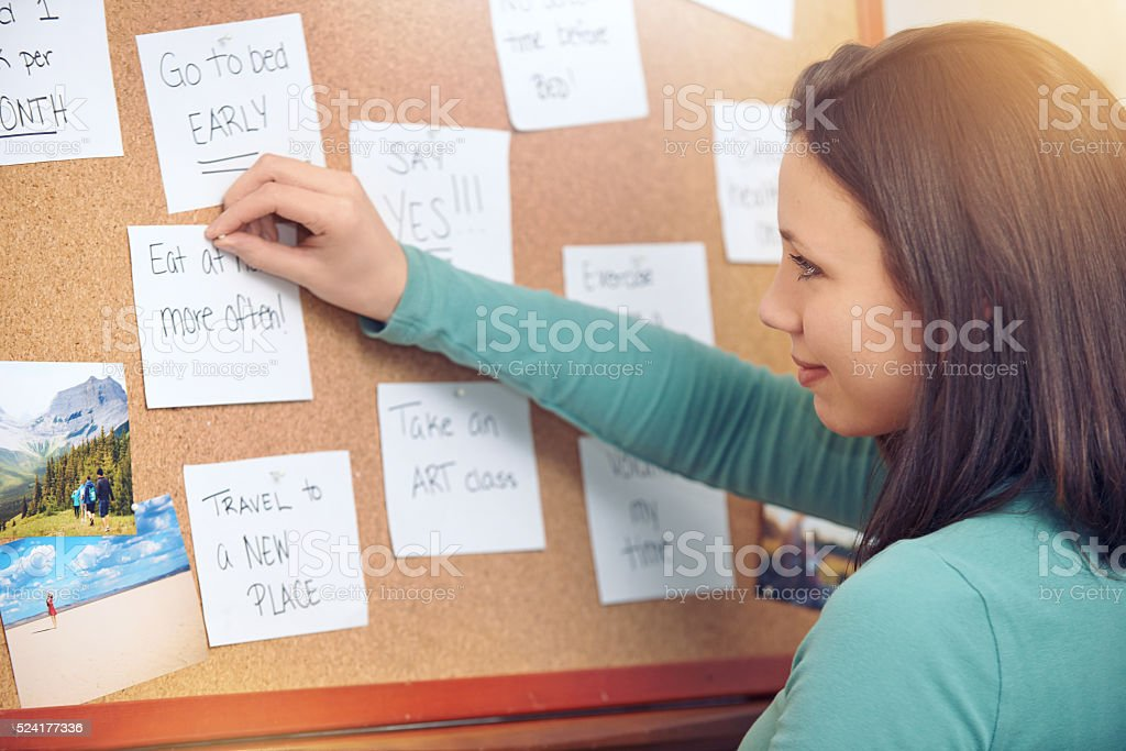 Setting her goals stock photo