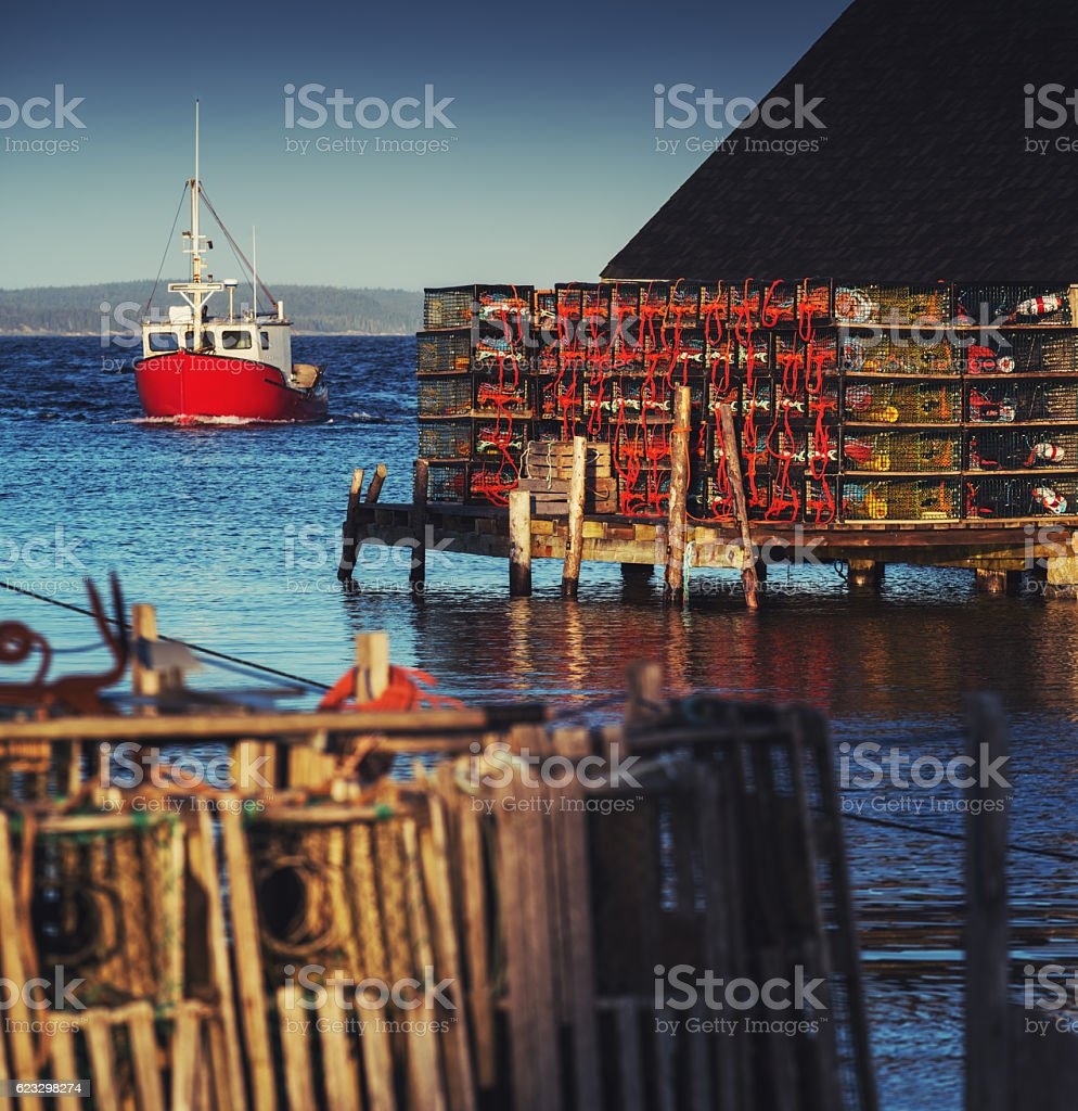 Setting Lobster Traps stock photo