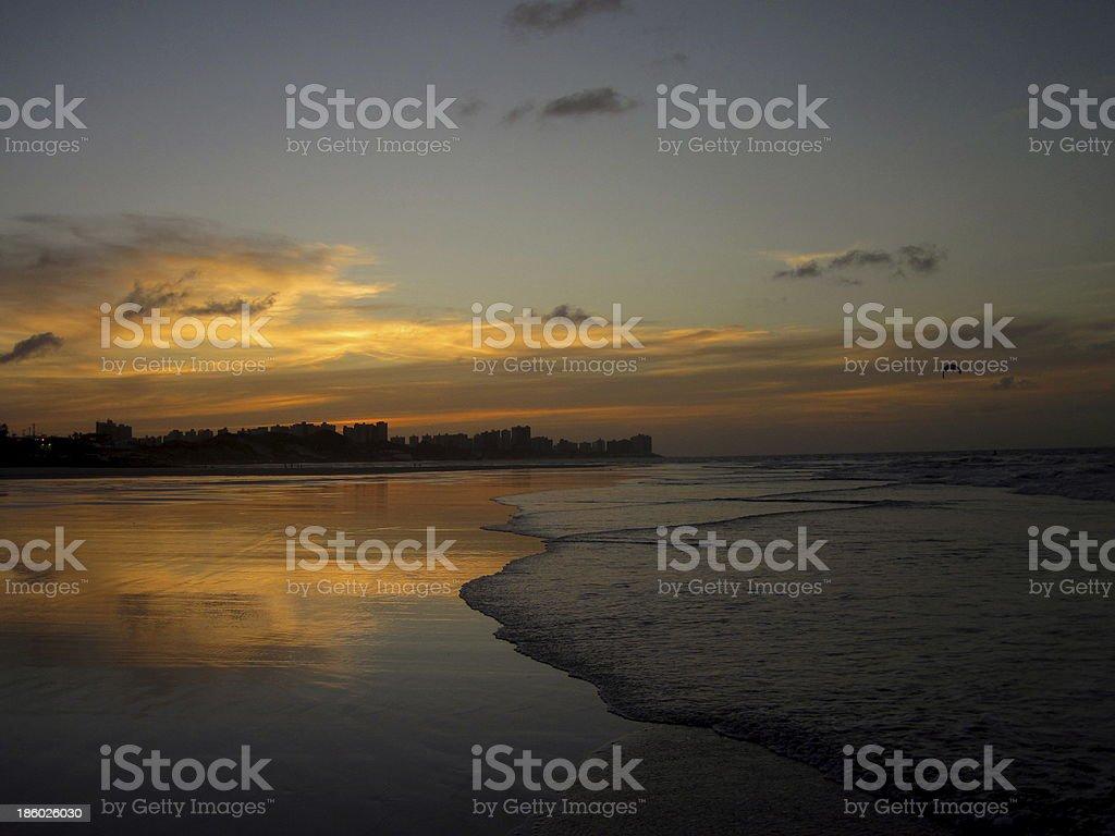 Setting of the sun in Sao Luis - Brazil stock photo
