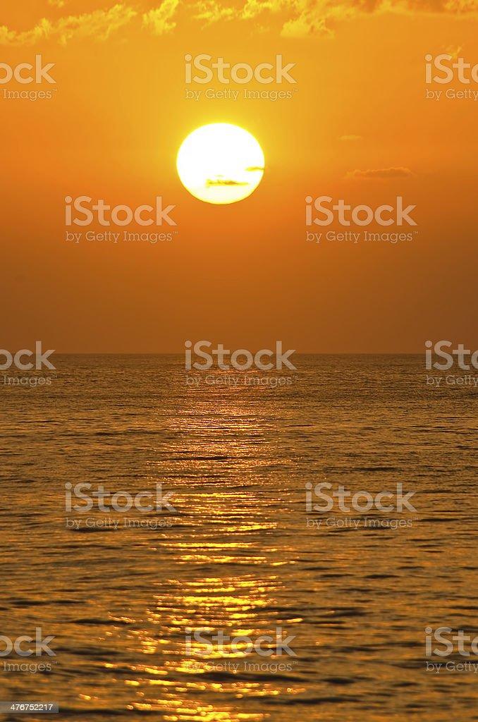 Setting orange sun royalty-free stock photo